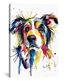 Shaunna Russell Border Collie Watercolor Wrapped Canvas | zulily
