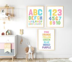 Kids Playroom Printable Art Set of Lets Play Lets Read Lets Draw, Pastel Playroom Prints Set, Toy Pastel Nursery, Printing Websites, Baby Room Art, Room Posters, Toy Rooms, Alphabet And Numbers, Playroom Decor, Nursery Decor, Printable Art