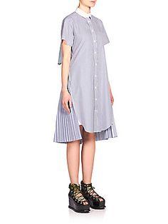 Sacai Striped Cutout Shirtdress