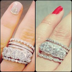Celebrity-style stacks are HOT!  On the left: Bachelorette Emily Maynard's sweet stack.  On the right: ours.  We can help you get your celeb look!