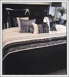 Rominda Black Grey Cream 3PC KING QUILT /  DOONA COVER SET with Brocade Lace NEW