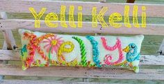 Name Pillow, Embroidered Custom Made, Baby Gift, Mothers Day Gift, Personalized,  Up To Five Letters,  Any Colors, YelliKelli