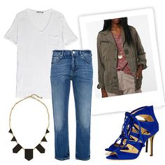 T by Alexander Wang Single Pocket Short Sleeve Tee ($76),  Urban Renewal Vintage French Combat Jacket ($59), Acne Pop Vintage Jeans ($319), 5 Station Necklace in Black Leather ($75), Jimmy Choo Gladys Lace-Up Suede Sandals ($995)