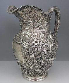 """Hand Chased Schultz Sterling Pitcher, Baltimore. I love the way the """"C"""" monogram is worked into the repousse on both sides! (Britannia Silver)"""