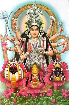 Durga and Three forms of Kali - Hindu Posters (Reprint on Paper - Unframed) Maa Durga Image, Durga Kali, Kali Hindu, Kali Mata, Saraswati Devi, Maa Kali Images, Shiva Parvati Images, Durga Images, Maa Kali Photo