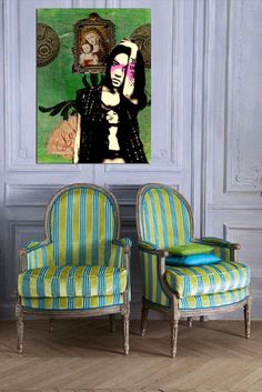 arm chairs with chartreuse / turquoise stripe upholstery play off of the art work - Bethany Claireveax