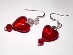 Red Glass Heart w/ Crystal Beads Earrings 1 1/2 Inch. Lovely Gift by susansarttreasures on Etsy