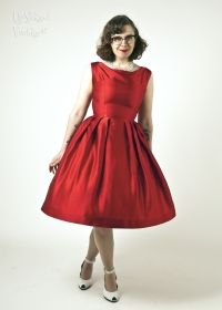 Scarlet Red Satin 1950s Cocktail Dress from Upstaged Leeds