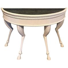 "Modern lacquered hoof foot console, in the manner of John Dickinson, Demilune form in ""Parzinger White"" lacquer with inset black marble top, raised on four hoof feet. A second console is available. Modern Console Tables, Modern Table, Black Marble, Marble Top, Special Wallpaper, Wall Carpet, White Home Decor, Modern Materials, White Houses"