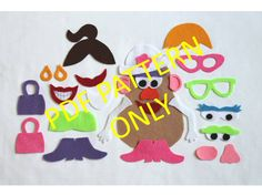 PATTERN ONLY  Mrs Potato Head Felt Toy by ThatGirlsCrafts on Etsy, $2.50
