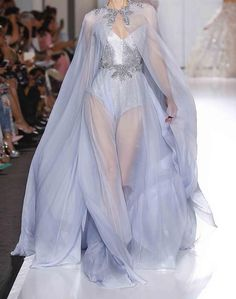 """""""Powder blue chiffon gown and cape overlaying crystal chainmail bustier, edged with crystal and pearl pendant embroidery. A beautiful creation by Ralph & Russo. Runway Fashion, High Fashion, Fashion Show, Fashion Design, Pretty Outfits, Pretty Dresses, Beautiful Dresses, Fantasy Gowns, Looks Chic"""