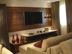 painel tv sala - Arandelas lado oposto