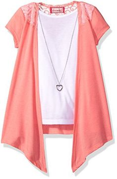 Dream Star Girls' Short Sleeve Tie Front 2 Fer with Neclace and Lace At Yoke Short sleeve 2 fer tie front with lace and necklaceFree necklace with purchaseLace at shoulders and back yokeAvailable in 3 different color ways  bracelets, Earrings, Jewelry, necklaces, pendants, Rings