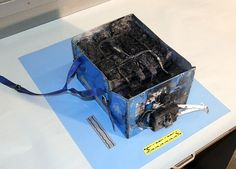 This lithium-ion battery from a 787 Dreamliner caught fire in a plane traveling from Tokyo to Boston last week