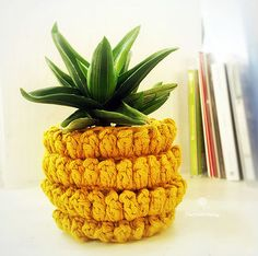 Free pineapple plant pot holder cover crochet pattern. Pineapple all year round! Use #pomdamoore & redirect when you share your…