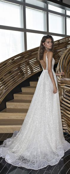 Spaghetti straps deep v plunging neckline a line wedding dress : Dimitrius Dalia Wedding Dress - Diamond Bridal Collection #weddingideas #weddinginspiration #weddingdress #weddinggown #weddingdress #bridedress