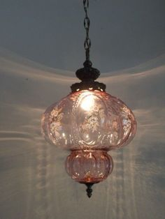 lovely...  Antique Pink Glass pendant Lamp Fenton