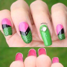 Bold Color Block nail art by Nora (naq57)