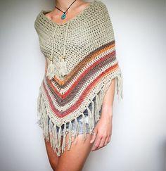 Boho crochet poncho on Etsy, $99.00 AUD