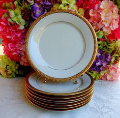 8 Beautiful Gold Buffet Royal Gallery Dinner Plates ~ Gold Encrusted #GoldBuffetRoyalGallery