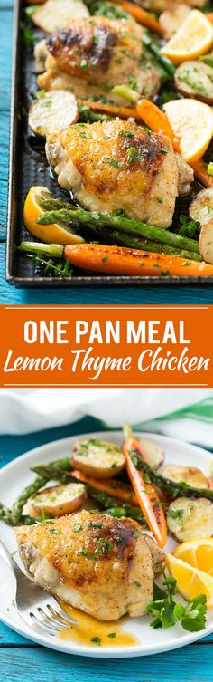 This recipe for lemon thyme chicken is a one pan meal of tender chicken thighs, new potatoes and spring vegetables, all seasoned with a sweet and savory butter and roasted to perfection. @candhsugar #CHHoneyGranules #ad