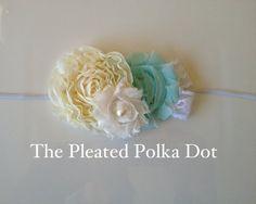 Shabby Flowers in Golden Ivory, Aqua and White Headband-Baby Headbands-Girl Headbands. $7.00, via Etsy.