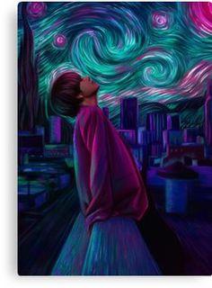V - Kim Taehyung - Starry Night Fanart by Bts Taehyung, Taehyung Fanart, Bts Bangtan Boy, Jhope, Bts Suga, Foto Bts, Artist Van Gogh, Fanart Bts, Kpop Drawings