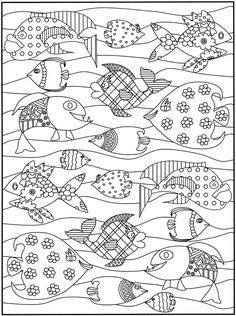 Happy fishes - Fishes Adult Coloring Pages Adult Coloring Pages, Coloring For Kids, Colouring Pages, Coloring Sheets, Coloring Books, Dover Publications, Fish Art, Digi Stamps, Printable Coloring