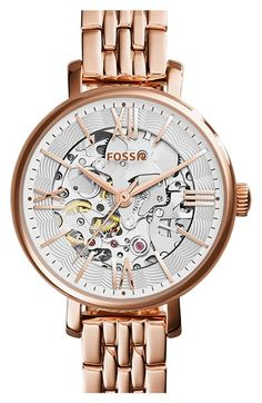 Fossil 'Jacqueline' Skeleton Dial Bracelet Watch, 27mm available at #Nordstrom