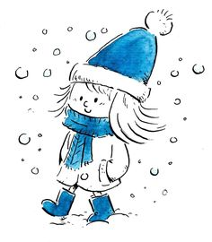 Little girl with hat walking through the snow isolated - Dibustock, Ilustraciones infantiles de Stock Funny Drawings, Doodle Drawings, Cartoon Drawings, Doodle Art, Easy Drawings, Winter Illustration, Illustration Art, Scarf Drawing, Little Girl Drawing