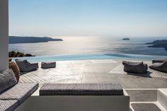 V-shaped infinity pool at Erosantorini hotel, Greece