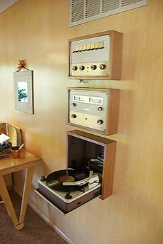 retro turntable and stereo-- wall mounted
