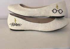 Women& Sparkly Ivory or White Glitter ballet Flats bride wedding shoes Harr. Women& Sparkly Ivory or White Glitter ballet Flats bride wedding shoes Harry Potter Harry Potter Wedding Dress, Harry Potter Cake, Harry Potter Shoes, Harry Potter Clothing, Harry Potter Dress, Bride Flats, Wedding Shoes Bride, Glitter Fashion, White Glitter