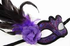 purple masquerade masks | ... MASK Burlesque Costume Masquerade Feathers Carnivale Purple Fancy