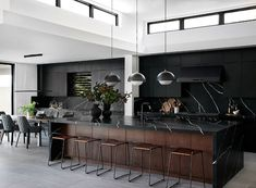 Step Inside a Rule-Breaking All-Black Kitchen by Bobby Berk MyDomaine Interior Exterior, Interior Design Kitchen, Black Interior Design, Simple Interior, Interior Sketch, Interior Livingroom, French Interior, Interior Doors, Interior Lighting