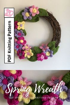 Lovely knitting pattern filled with flowers and leaves! Perfect diy spring home decor! Diy Spring Wreath, Summer Door Wreaths, Diy Wreath, Purple Wreath, Floral Embroidery Patterns, Spring Home Decor, Knitting Patterns, Leaves, Amanda