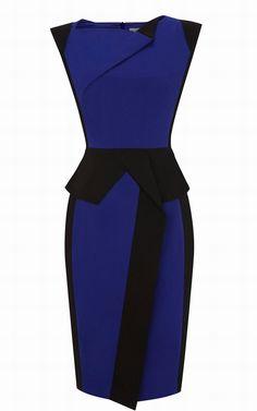 2013 Karen Millen colourblock sculptural dress