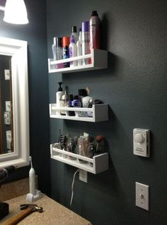 10 Ways to Squeeze a Little Extra Storage Out of a Small Bathroom. Hang spice racks (like the IKEA BEKVAM shown here) on the wall to organize makeup. 28 Bathroom Storage Ideas to Getting Clutter Away Small Bathroom Storage, Bathroom Organization, Organization Ideas, Small Bathrooms, Bathroom Hacks, Organized Bathroom, Bathroom Renovations, Hair Product Organization, Simple Bathroom