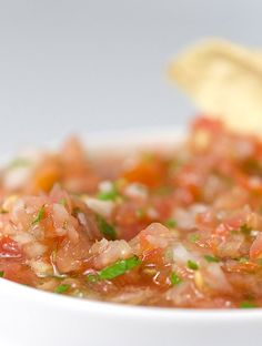 A fresh spicy salsa with tomatoes, onions and habanero peppers.
