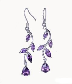 EOZY 1 Pair Women Sterling Silver Plated Lavender Leaves Amethyst Crystal Dangle Earrings Eardrop Eozy http://www.amazon.com/dp/B00L2TXDVG/ref=cm_sw_r_pi_dp_Hqi4vb0K81AND