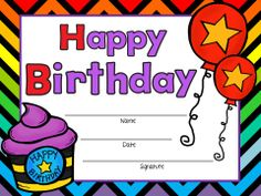 FREE!!! These are birthday certificates for any teacher to give to their birthday student on their special day. This includes a boy and girl option and is a FREE instant download!