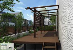 YKKAPのテラス屋根「サザンテラス (パーゴラ仕様) テラスタイプ 連棟」の商品詳細ページです。YKK APから天然木に限りなく近づけたオール木調のテラス屋根「サザンテラス」連棟タイプが新発売!前枠や垂木の張り出しが印象的な「パーゴラタイプ」は、ナチュラルな木・・・。 Laundry Room Design, Outdoor Living, Pergola, Outdoor Structures, House Design, Garden, Yahoo, Home Decor, Terrace