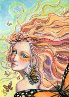 Butterfly Fairy Art Print - Monarch - Tangerine Orange and Pearls - Elements Butterfly Fairy, Monarch Butterfly, Illustrations, Fairy Art, Art Journal Inspiration, Whimsical Art, Portrait Art, Female Art, Watercolor Paintings