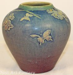 Newcomb Pottery 1917 Flowers and Butterflies Vase (Irvine) from Just Art Pottery