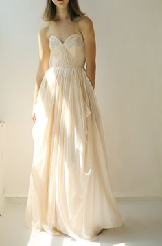 Sample SALE blush silk chiffon and beaded lace by Leanimal