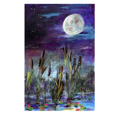 Supermoon  and Fireflies Original by Ginette Fine Art, $150.00