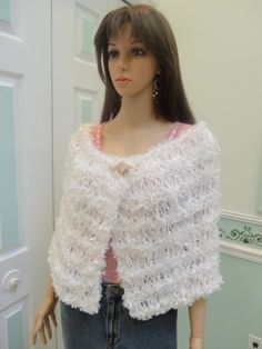 WHITE BRIDAL CAPELET exclusive design  hand knitted by UptownKnits