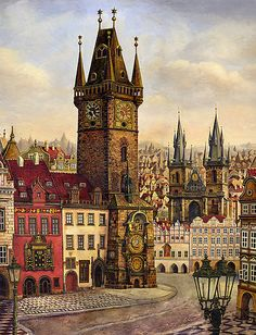 Prague's Old Town square Oil painting on canvas by Victoria Francisco Architecture Drawings, Historical Architecture, Town Drawing, Prague Old Town, Old Town Square, Fantasy Places, European Paintings, Abstract Nature, Landscape Illustration