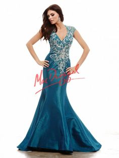 Peacock Blue Prom Dress | Mermaid Gown | Mac Duggal 64955A