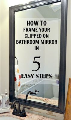 to Frame a Mirror with Clips in 5 easy steps If your bathroom mirror has those little metal clips, you can still frame it. I'll show you how! If your bathroom mirror has those little metal clips, you can still frame it. I'll show you how! Home Renovation, Home Remodeling, Bathroom Renovations, Decorating Bathrooms, Apartment Kitchen Decorating, Decorate Apartment, Apartment Walls, Apartment Furniture, Apartment Interior
